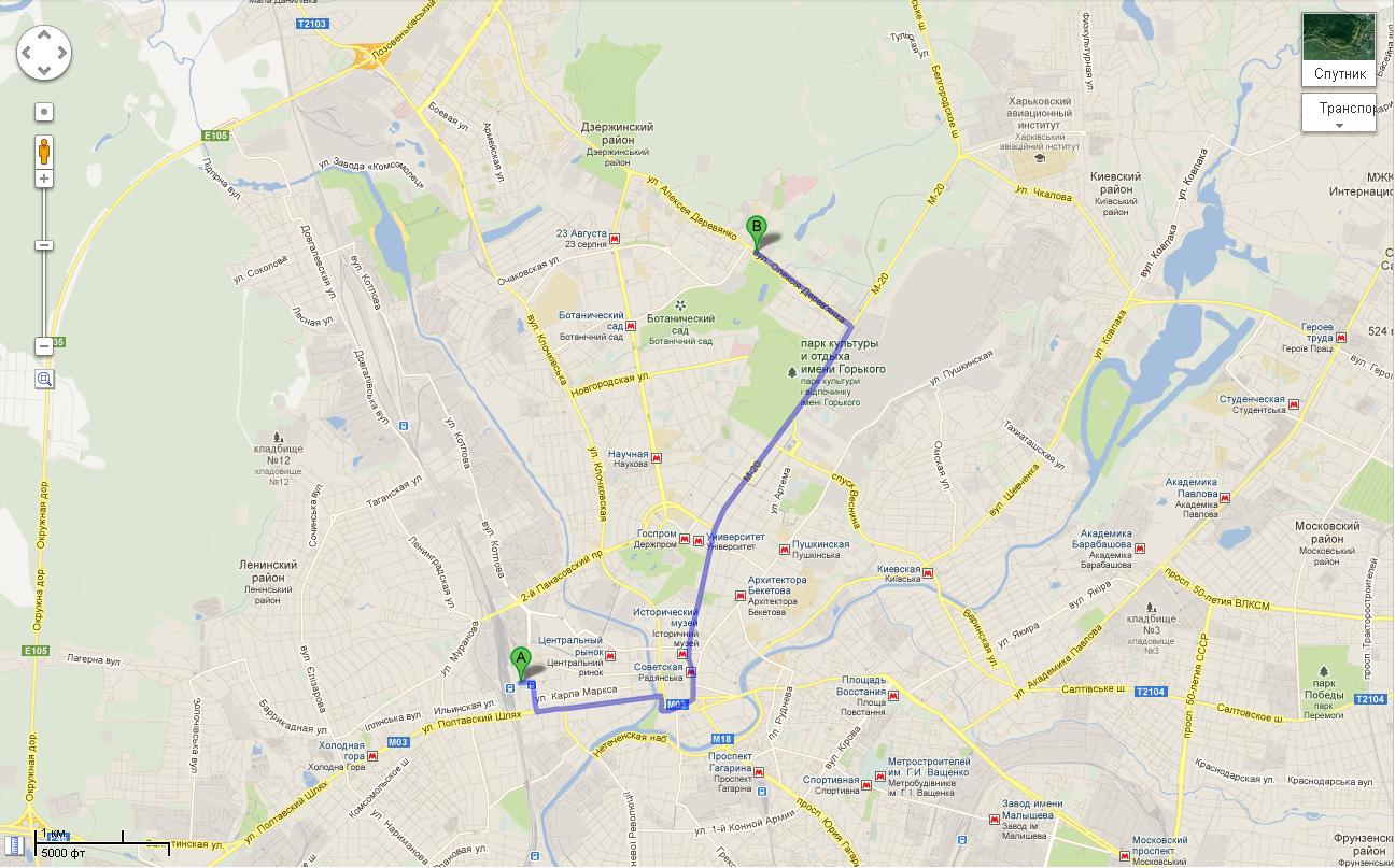 Карта проезда к Зооленду (от ж/д вокзала)